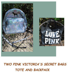 Two PINK VICTORIA'S SECRET Bags - Backpack & Tote